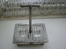 Vintage, 5.5in x 4in x 3in Glass Mustard and Salt Dishes with Metal Stand