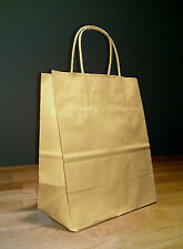100 Kraft Brown Paper Cub Shopping Gift Bag with rope handles 8.25 x 4.75 x 10.5