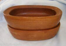 Vintage Richard Nissen Denmark Mid Century Modern Teak Wood Bowls Oblong Shape