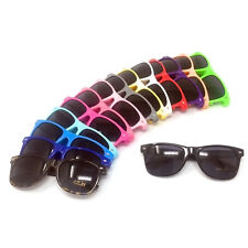 Classic Black Lens Sunglasses Mens Ladies Womens Neon Retro Fashion 80s UV400
