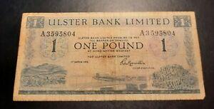 1976 - United Kingdom, Ulster Bank Ltd. - One (£1) Pound Banknote, Bill No. A 35