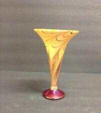 "7"" S. Lundberg Iridescent Art Glass Trumpet Vase-hand blown-swirl pattern, gold"