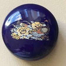 Vintage Retro Blue Porcelain Gilded Peacock Floral Trinket Dish Pot