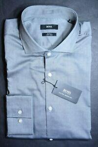 Hugo Boss Men's Jason Slim Fit Easy Iron Cotton Med Gray Dress Shirt 42 16.5