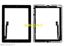 Black Touch Digitizer + Home Button + Adhesive Camera Bracket for iPad 3 iPad 4