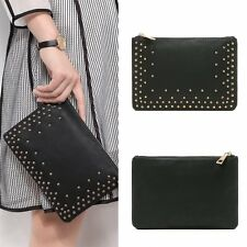 New Women Rivet Leather Handbag Party Evening Envelope Clutch Bag Wallet Purse