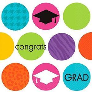Colorful Commencement Congrats Grad Graduation Party Paper Beverage Napkins