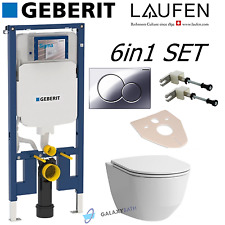 GEBERIT UP720 SIGMA WC FRAME+ LAUFEN PRO TOILET PAN WITH SLIM SOFT CLOSE SEAT