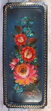 petit plateau métal peint décor fleurs flowers tray