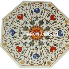 15'' White Octagon Marble Modern Coffee Table Marquetry Inlay Hallway Arts H3092