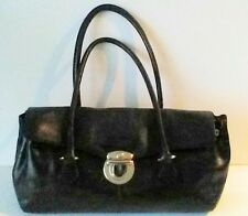 Wilson's Black Leather Medium Sz. Handbag Silver Buckle Expandable Snap Sides