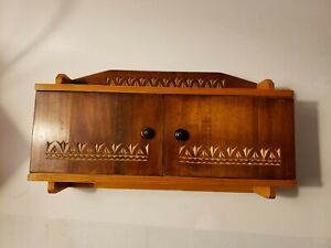 VINTAGE MID-CENTURY CARVED WOODEN HANGING CUPBOARD WALL CABINET