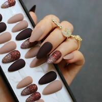 Dark Coffee Mixed Nude Glitter Powder Stiletto Matte Fake Nails Black Gradient