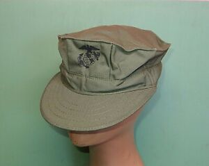 US Marine Corps USMC 8 Point OD Green Sateen 50/50 Utility Cover Hat Cap Large