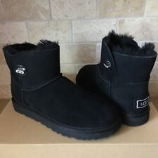 UGG Turnlock Bling Swarovski Crystal Black Suede Classic Mini Boots Size 6 Women