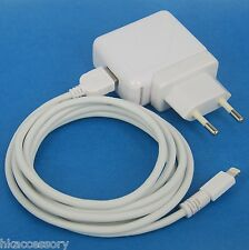 AC Wall Charger European Plug+6ft USB cable WHITE 4 iPhone 6s 6 Plus SE 5s 5c 5