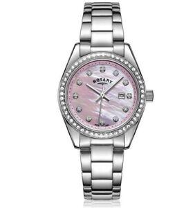 Rotary Ladies Silver Dial Stone Set Bracelet Watch Womens LB03042/07