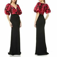 CARMEN MARC VALVO INFUSION Floral Print Organza Bodice Evening Dress Size 6 new