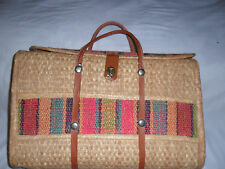Handmade Honey Gold Wicker Travel Basket with Holders Exclusive of Decoration