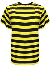 Ladies Bumble Bee Yellow & Black Stripes T-shirt Top 80's Fancy Dress Costume