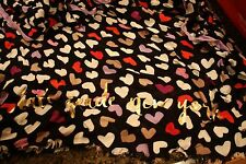 NWT Kate Spade dancing hearts scarf black with hearts lavender trim