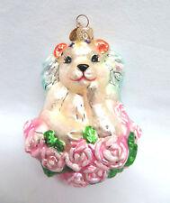 Christopher Radko Christmas Ornament ~ White Angel Bear w/ Wings & Pink Roses