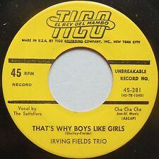 IRVING FIELDS TRIO: THAT'S WHY BOYS LIKE GIRLS rare TICO 45 latin RARE LABEL