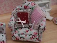 Floral Sofa Chair  With Two Cushions, Dolls House Miniature