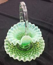 1940's RARE Vintage Fenton Glass Lime Green Opalescent Hobnail Basket w Plate
