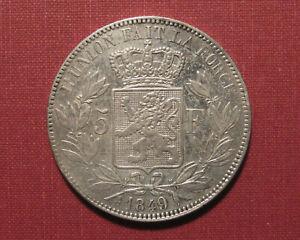 1849 LARGE 9 BELGIUM 5 FRANCS - LEOPOLD I, POLISHED, NEAT ERROR COIN