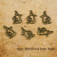 10 Antiguo Bronce Vintage Nota Musical Charm Colgante 106