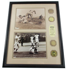 Ty Cobb Pete Rose Game Used Display 2 Photos 2 Bats 2 Coins Highland Mint Framed