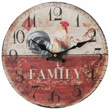 Hometime Windsor Rooster Family MDF Round Vintage Wall Clock W9774