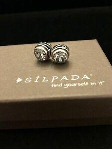 SILPADA P1232 Sterling Silver Scroll Bezel Cubic Zirconia CZ Earrings