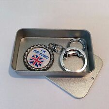 British Inspired I'm Awesome Bottle Top Key Ring, Key Chain with Union Jack