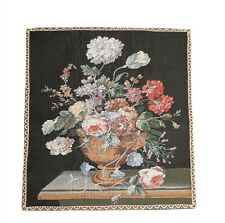 "vintage wall hanging tapestry french 24""x26"" w 3.5"" rod pocket Flower Bouquet"