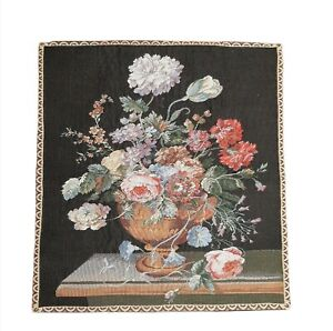 """vintage wall hanging tapestry french 24""""x26"""" w 3.5"""" rod pocket Flower Bouquet"""