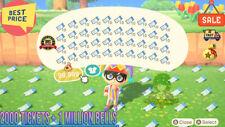 Animal Crossing New Horizons 2000 NMT 🎫 Nook Miles Ticket + 1 MILLIONS BELLS 🔔