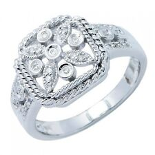 Flower Milgrain Right Hand Cocktail Ring 14K White Gold Pave Round Diamond