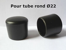 2 Bouchons embouts enveloppant pour tube rond pied de chaise PVC NOIR Ø 22 mm