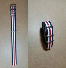 20mm NATO BOND cinturino per orologio blu bianco rosso con fibbia Rolex