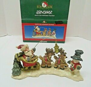 RARE Kurt S Adler SNOWTOWN Santa and Reindeer Figurine Sculpture Christmas Decor