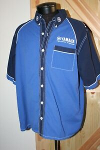 Men's Yamaha racing pit shirt size large blue Motorcycle button up short sleeve