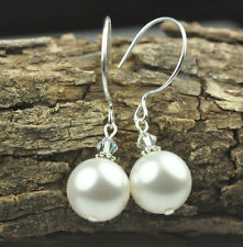 White W Swarovski Elements Crystal Pearl Earrings Wedding Sterling Silver Filled