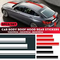 Car Body Roof Hood Cover Trunk Vinyl Decal Sticker Racing Stripes Set  # -. +-