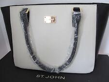 NWT St John Knit Handbag black white cream tote leather