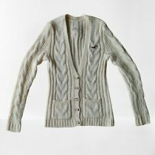 Hollister Cream Ivory Cable Knit Button Down V-Neck Betty Long Cardigan Sweater