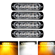 4X Ultra Slim 18W White+Amber 6-LED Surface Mount Flashing Strobe Light 12V-24V
