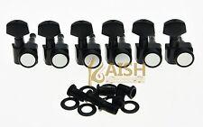 Black 6 Inline 2 Pin Locking Tuning Keys Pegs Tuners Fits USA Fender Strat Tele