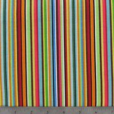 "Blue Orange Green Pink Stripes 42""W 15""L Window Curtain Valance Cotton  fabric"